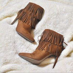 JustFab Suede Fringe Ankle Boots & Booties